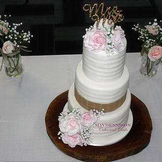 Rustic Pink Roses and Baby's Breath