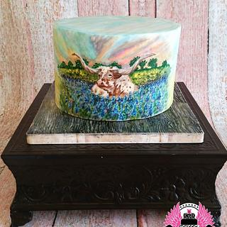 Texas Longhorn in Bluebonnets Hand Painted Cake