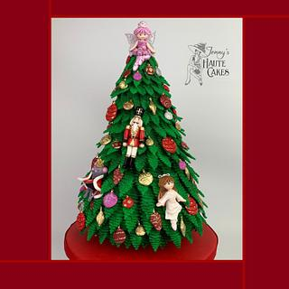 Nutcracker Ballet Themed Christmas Tree Cake