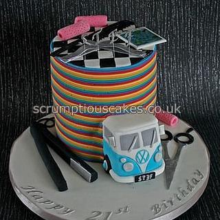 Rainbow Stripes Birthday Cake
