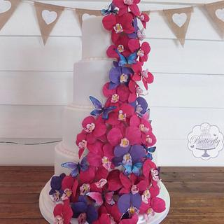 Orchid Wedding Cake - Cake by Butterfly Cakes and Bakes