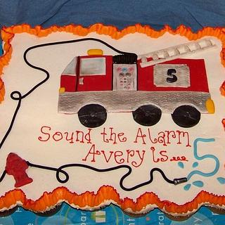 Firetruck Cupcake Cake