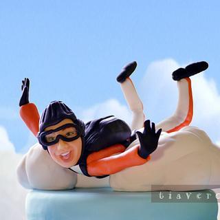 sky diver cake topper