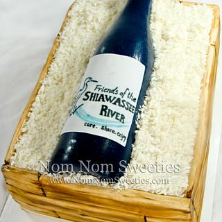 Wine Crate and Bottle Cake