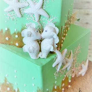 Sea horse bridal shower cake