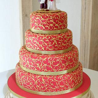 Red and Gold Indian Wedding Cake