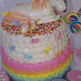 Rainbow Unicorn topper cake