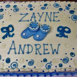 Baby shower cake in blue for boy (all buttercream)!