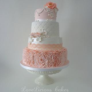 Wedding cake peach - Cake by loveliciouscakes