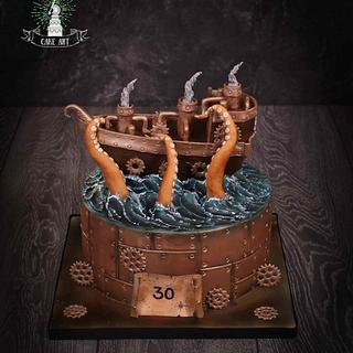Steampunk ship cake