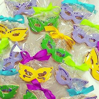Colorful mardi gras cookies.