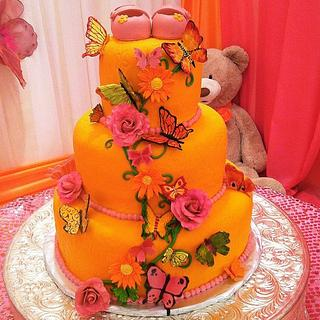 Orange and Pink Butterfly cake