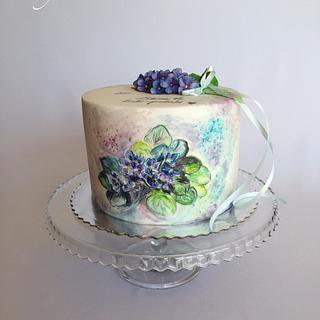 Violet flowers cake