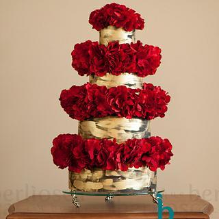 Red Statement Wedding Cake