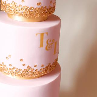 Dusky pink with gold sequins - Cake by Kasserina Cakes