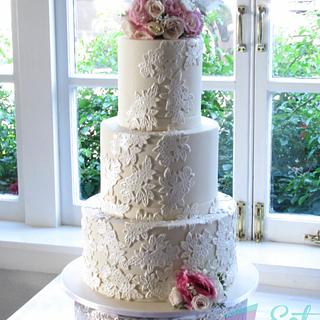 Lace Wedding Cake - Cake by Eat Cake