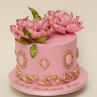 Pink & Gold Peony cake