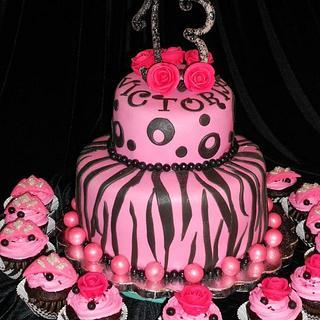 Zebra print on Hot Pink - Cake by Maria Cazarez Cakes and Sugar Art