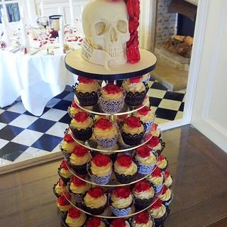 Chocolate Skull & Red Roses