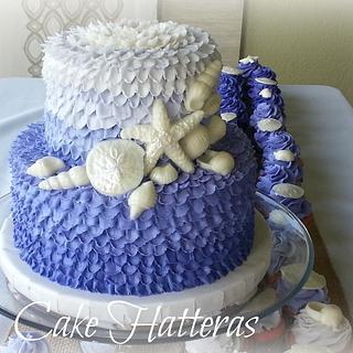 Ombre Buttercream Ruffle Wedding Cake with Pearl Seashells - Cake by Donna Tokazowski- Cake Hatteras, Hatteras N.C.