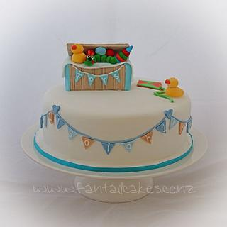 1st birthday toy box cake