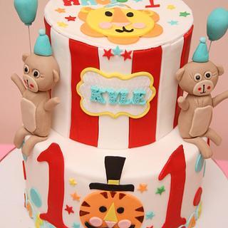 circus themed cake - Cake by Sweet Cravings Toronto