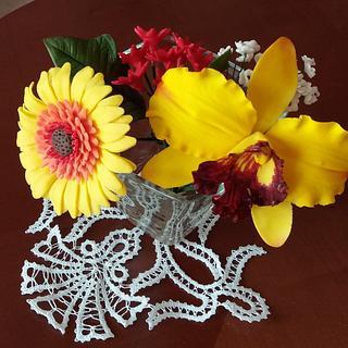 Sugar paste flower arrangement