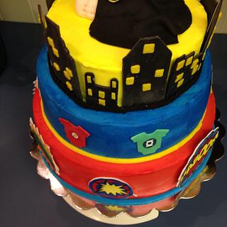Super hero baby shower cake