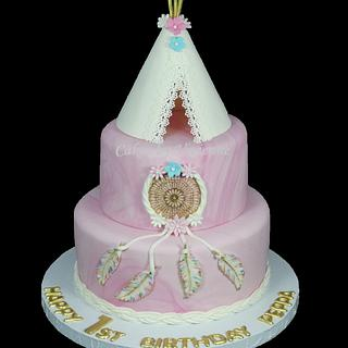 TeePee and Dream Catcher Birthday Cake - Cake by Cakes by Vivienne