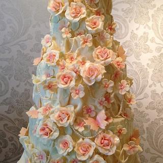 White chocolate rose, hydrangea and pearl wedding cake