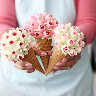 Flower Cones  - Cake by Make Fabulous Cakes