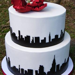New York Skyline Wedding Cake