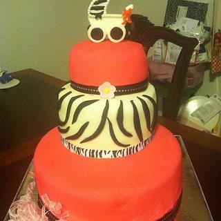 hot pink and and zebra babyshower cake
