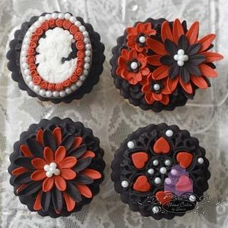 Vintage cameo, black, white and red cupcakes. - Cake by Sonia Huebert