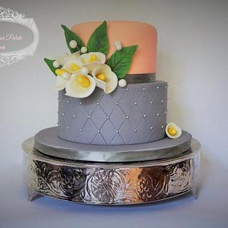 Grey and Coral Wedding Cake  - Cake by Delight for your Palate by Suri