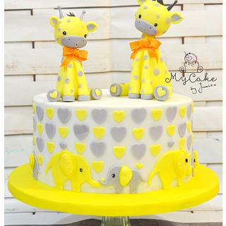 Baby shower giraffe bebe and mommy
