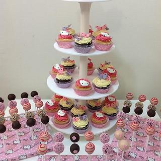 Hello kitty cupcakes and cake pops