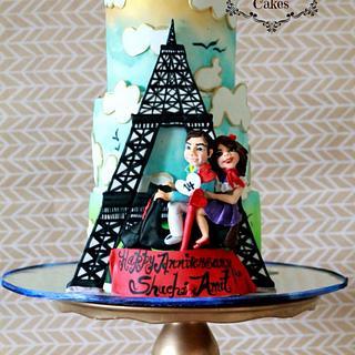 Dual Theme Birthday n Anniversary cake
