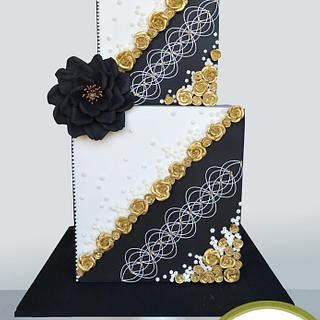 Black, White and Gold Elegance - Cake by Inspired by Cake - Vanessa