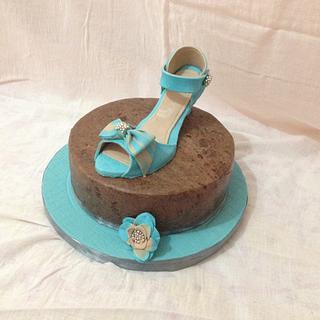 Blue shoe cake