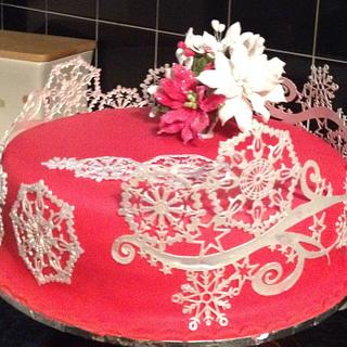 Red and Silver Snowflake Christmas cake