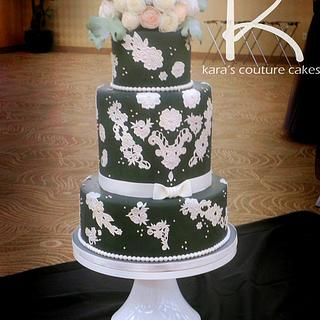 Gray, Vintage Lace, and Wafer Roses Wedding Cake