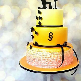Orange yellow pink wedding cake