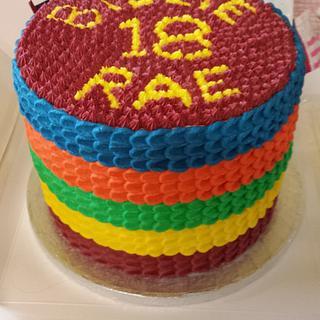 Rainbow 18th Birthday Cake