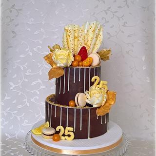 Ganache & gold birthday cake
