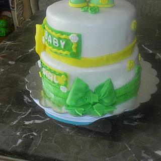 green and yellow baby shower cake