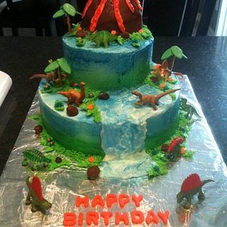 Dinosaur Waterfall - Cake by Dawn Henderson