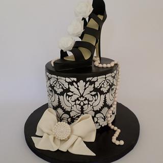 Black and White Sugar Shoe Cake