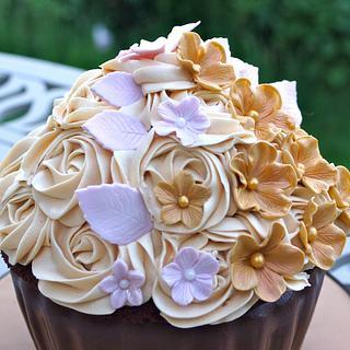 Giant Chocolate and Caramel Cupcake