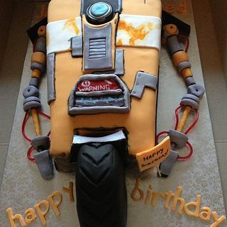 Claptrap Robot cake from Borderlands video game